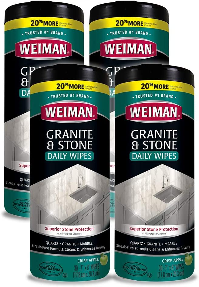 Weiman Granite Wipes - 4 Pack (120 Wipes Total) - Non-Toxic Clean Brighten and Protects Solid Sealed Stone Surfaces Marble Quartz Counter Top Floor- 30 Count Each