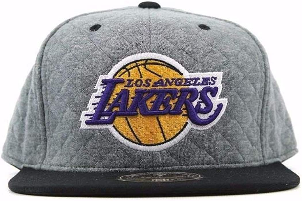 60e85c64c69003 Mitchell & Ness Los Angeles Lakers Quilted RD Grey 2-Tone HIGH Crown Fitted  Cap
