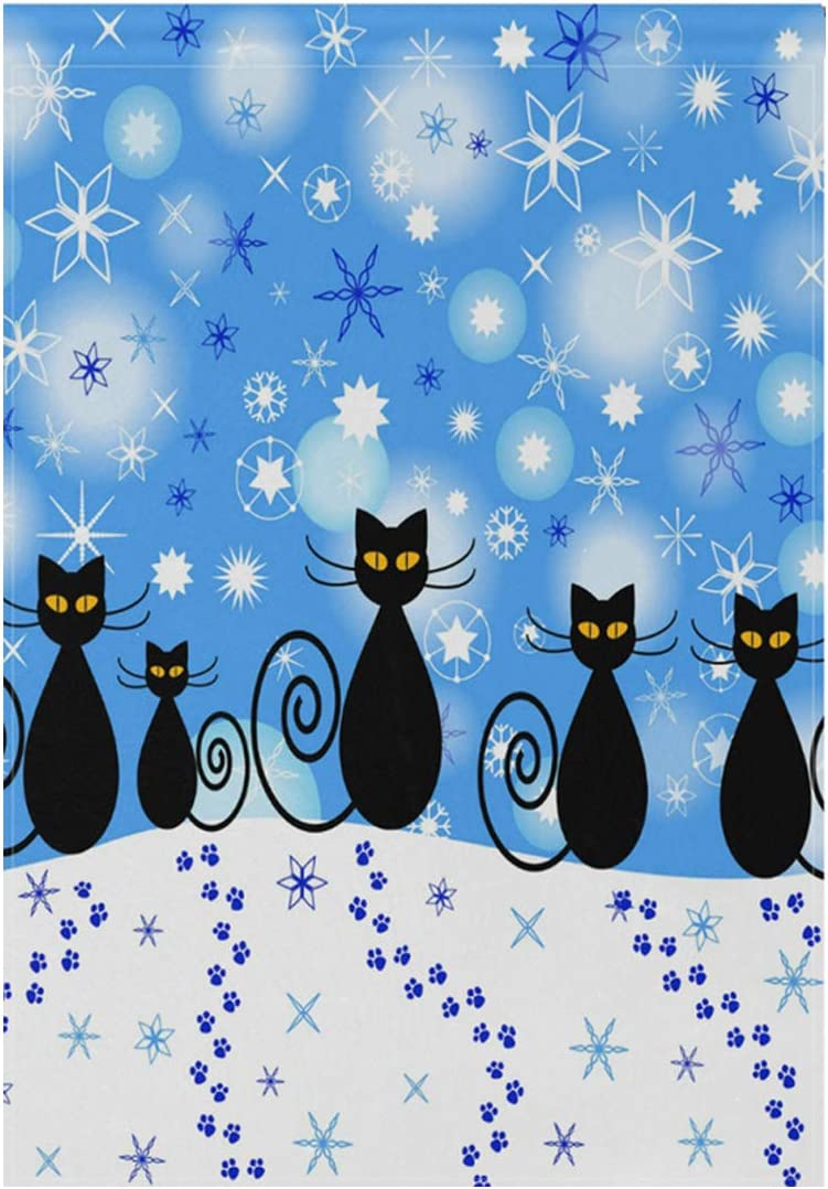 WIHVE Winter Holiday Decor Garden Flag Christmas Black Cat Snowflake Vertical Double Sided Yard Flag Polyester Garden Flag House Banner for Wedding Party Indoor Outdoor Decoration 12 x 18 Inches