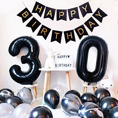 Birthday Party Decorations Happy Birthday Banner 40inch Black Number 30 Balloons White and Black Agate Latex Balloons for 30th Birthday Party Supplies Photo Props (Black 30) -