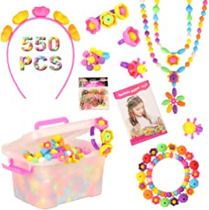 Barwa Set 550 PCS Pop Snap Beads Pop-Arty Bead Toy for Kids and Toddlers DIY Beads Toy Made Jewelry Necklaces Bracelets Rings Crafts (Multicolored Rubber Band, 3 Hairpin Included)