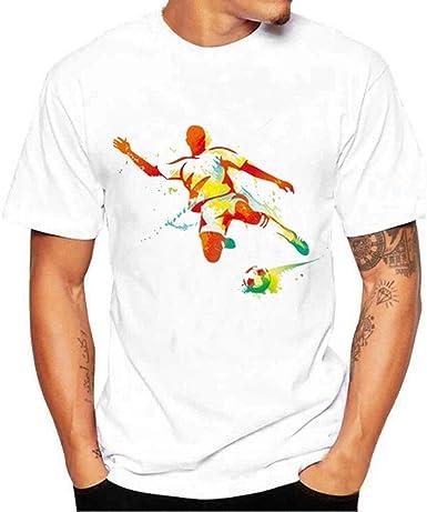 MEIbax Algodón Camisetas Hombre Suelto Ocio Color sólido Copa Mundial Impresión de fútbol,T Shirt Simple Impresión Cuello Redondo Manga Corta Suelto Fit Transpirables Cómodo Tops Deportiva Pullover: Amazon.es: Ropa y accesorios