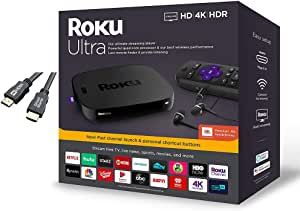 Roku Ultra Streaming Media Player 4K/HD/HDR with Premium JBL Headphones, TV Controls and Personal Shortcuts w/Ghost Manta 4K HDMI Cable