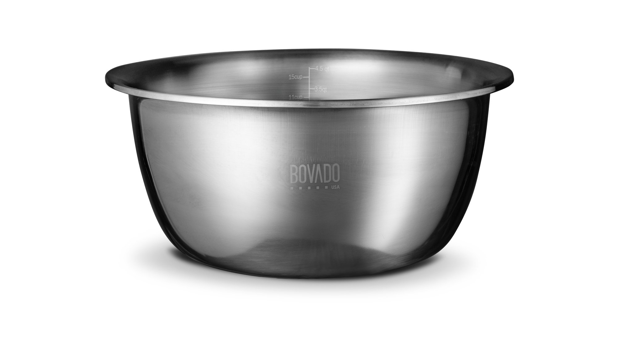 New Design Stainless Steel Mixing Bowl - 5qt - Flat Bottom Extra Wide Non Slip Base, Retains Temperature, Dishwasher Safe - By Bovado USA