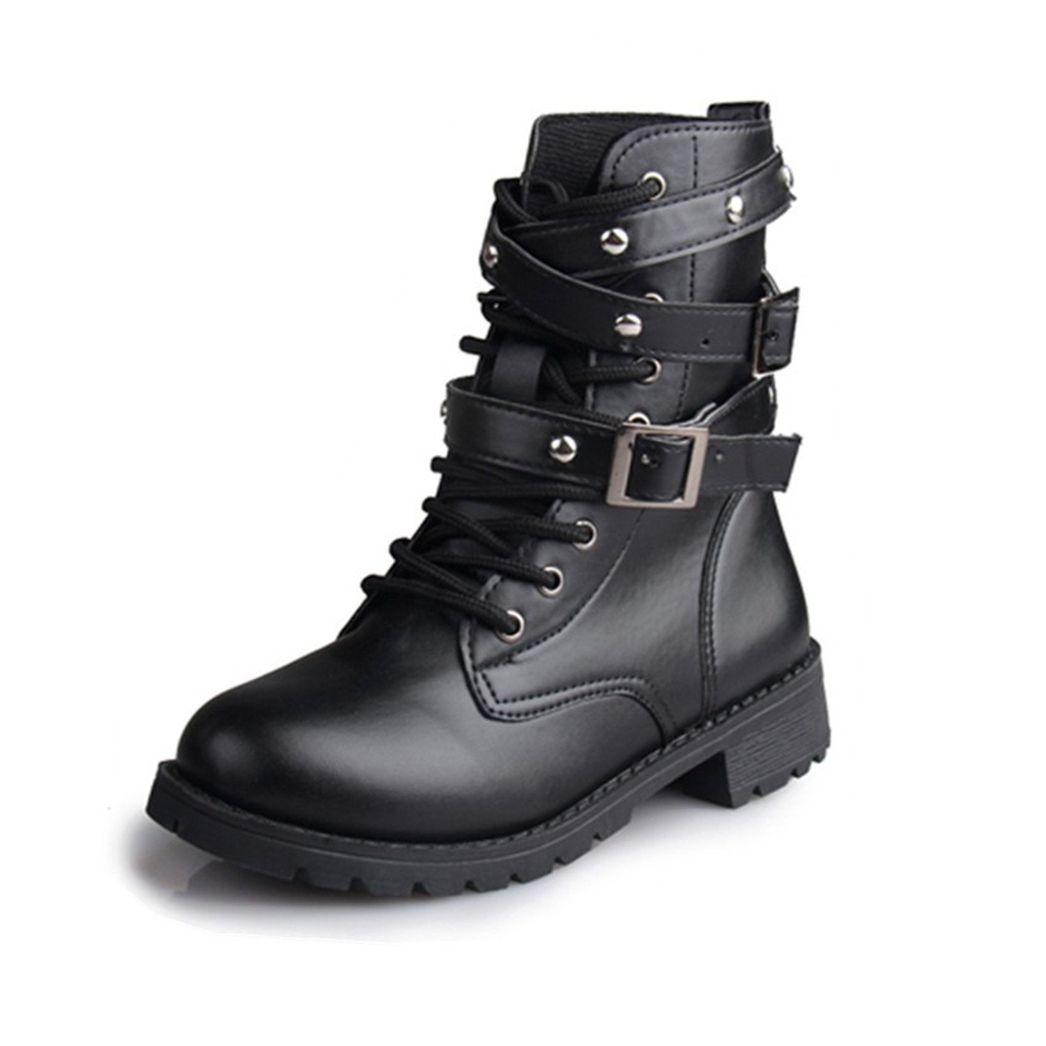 Desirca Women Motorcycle Boots Ladies Vintage Rivet Army Punk Goth