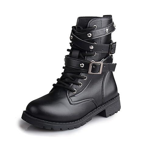 40afaed5101216 Desirca Women Motorcycle Boots Ladies Vintage Rivet Army Punk Goth Ankle  Shoes Biker Leather Autumn Women Boots: Amazon.ca: Shoes & Handbags