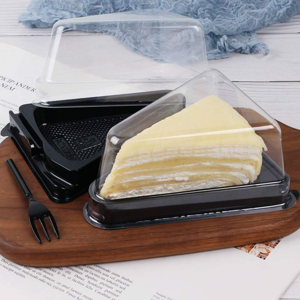 BBJ Thick Slice Pie Container with Lid Clear Mini Cheesecake Dessert Boxes with Fork Bakery Packaging for 4.7x3.1x2.7 Inch, Pack of 50