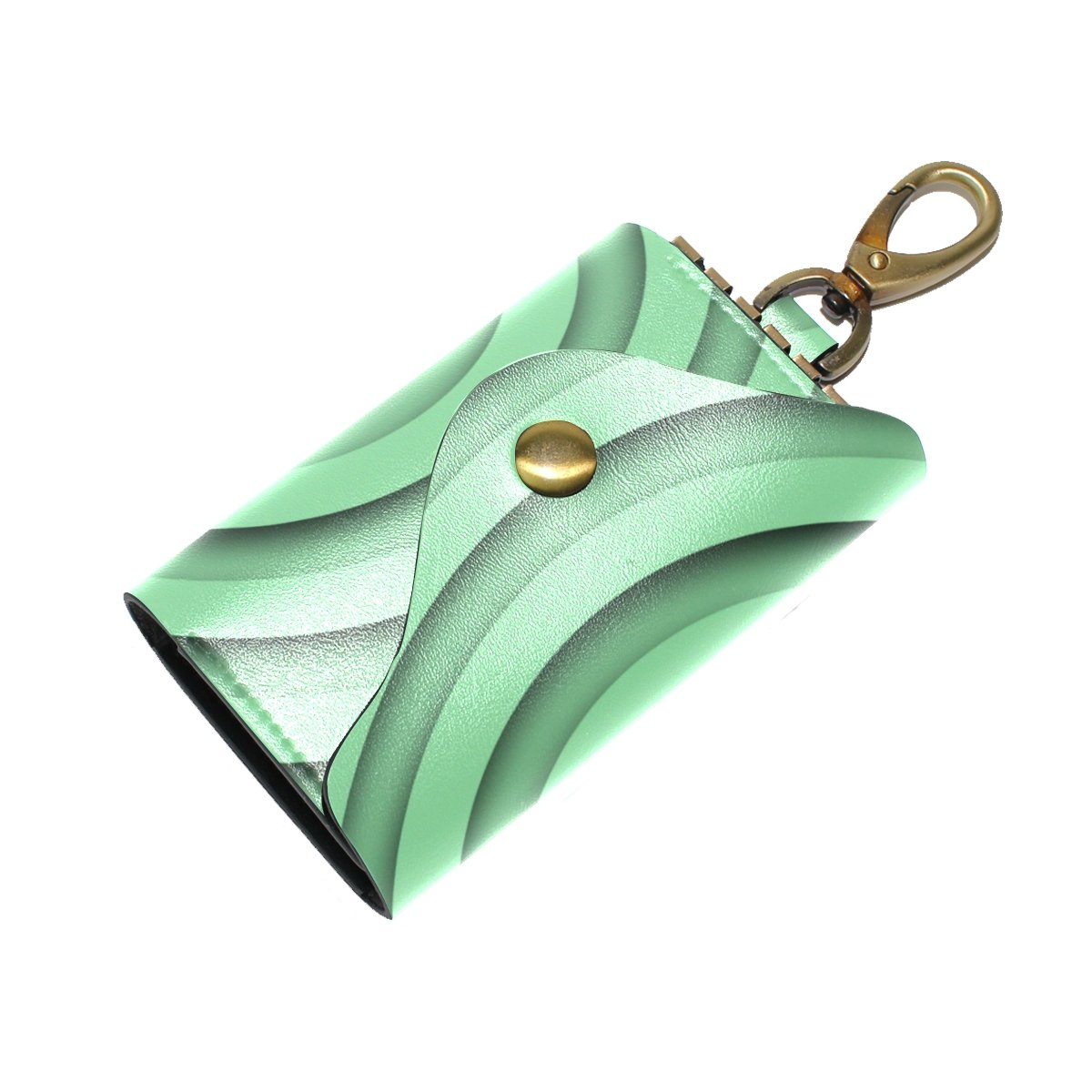 DEYYA Concentric Green Rings Leather Key Case Wallets Unisex Keychain Key Holder with 6 Hooks Snap Closure