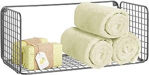 mDesign Wide Metal Wire Farmhouse Wall Decor Storage Towel Organizer Shelf for Bathroom, Entryway, Hallway, Mudroom, Bedroom, Laundry Room - Wall Mount - Graphite Gray