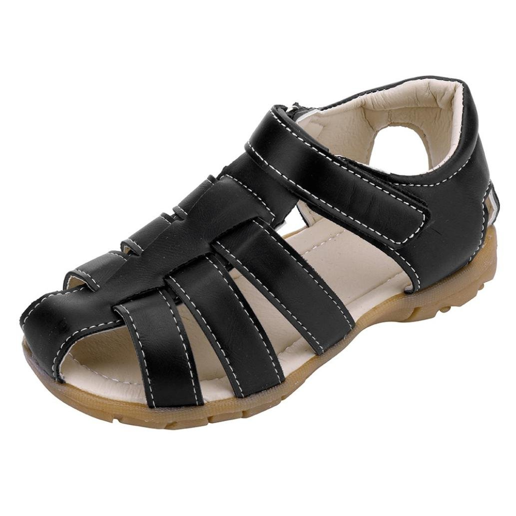 Voberry Kids Boys Girls PU Leather Closed Toe Summer Outdoor Beach Sport Sandals Fisherman Shoes (5.5-6T, Black)
