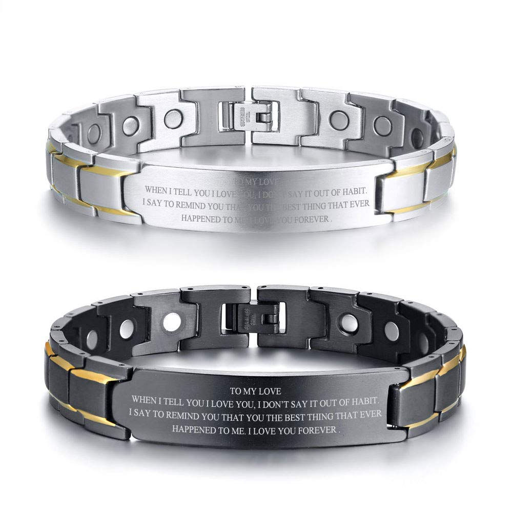 VNOX Custom Engraving-12MM Stainless Steel Two Tone Magnetic Adjustable Therapy Link Bracelet,Silver//Black