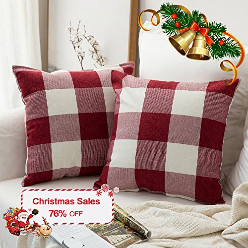 Pack of 2,Miulee Classic Retro Checkers Plaids Cotton Linen Soft Soild Christmas Decorative Square Throw Pillow Covers Home Decor Design Set Cushion Case for Sofa Bedroom Car 18 x 18 Inch 45 x 45 Cm (Decorative Christmas)