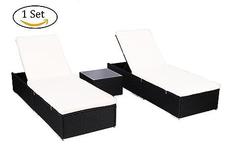 Amazon Do4U 3 Pcs Outdoor Patio Synthetic Adjustable Rattan