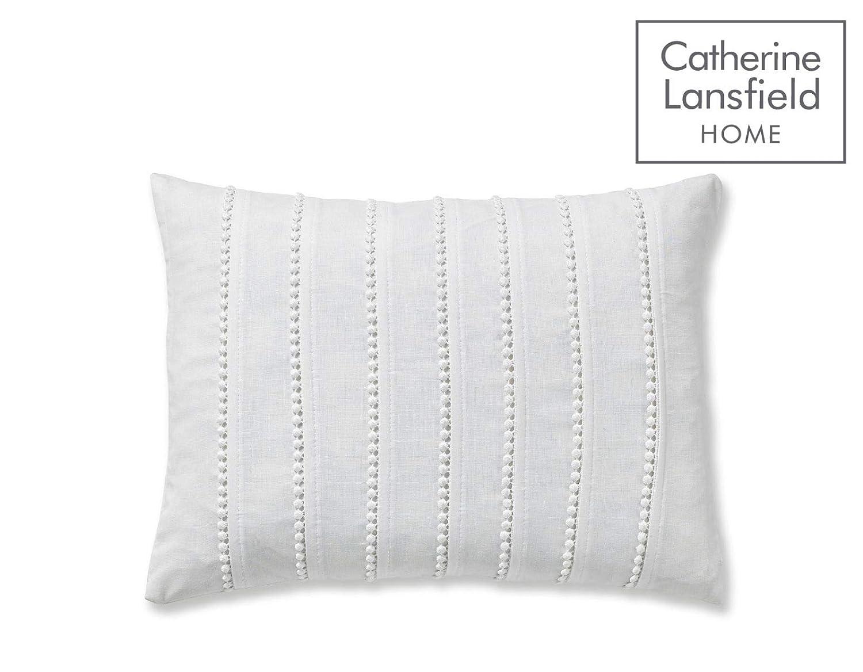 Catherine Lansfield Pom Pom Embellished Filled Cushion White 30 x 40 cm
