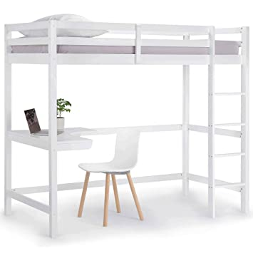 Vonhaus Wooden Study Bunk Bed Frame Stylish 3ft Single Solid Pine High Sleeper With Desk To Maximise Space Ideal Student Furniture Mattress Not