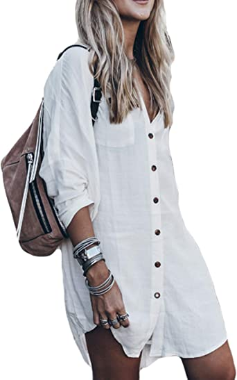 Bsubseach Women Loose Long Sleeve Swimsuit Cover Ups Button Down Beach Shirt
