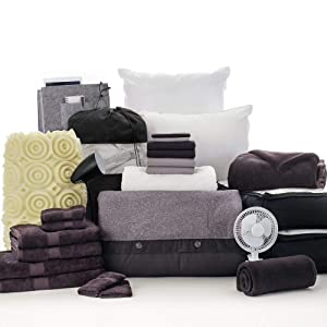OCM 27 Piece Varsity Collection Boone Black and Gray Twin XL College Dorm Bedding and Bath Set
