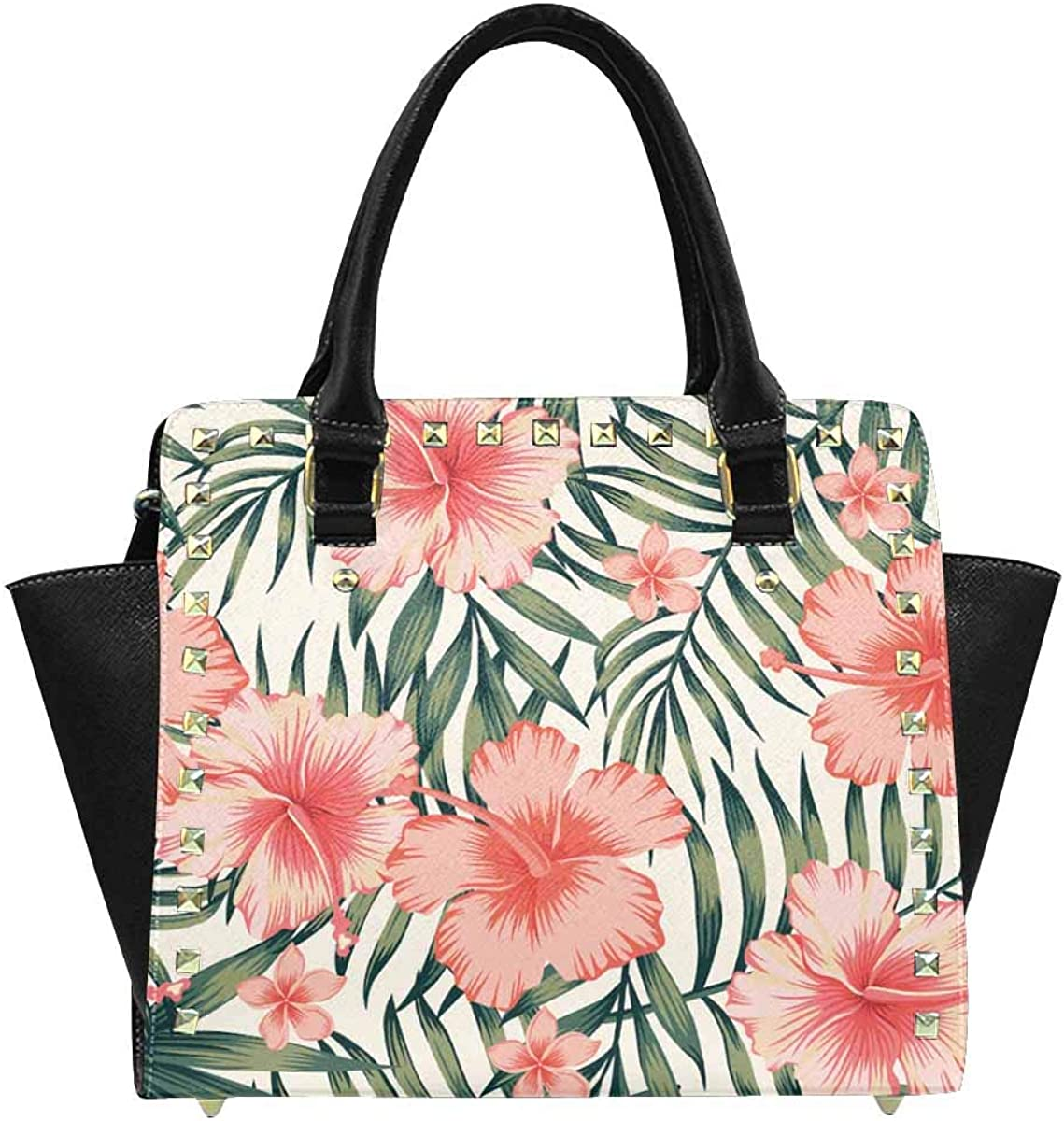 INTERESTPRINT Pink Hibiscus Palm Leaves Tote Bag with Adjustable strap
