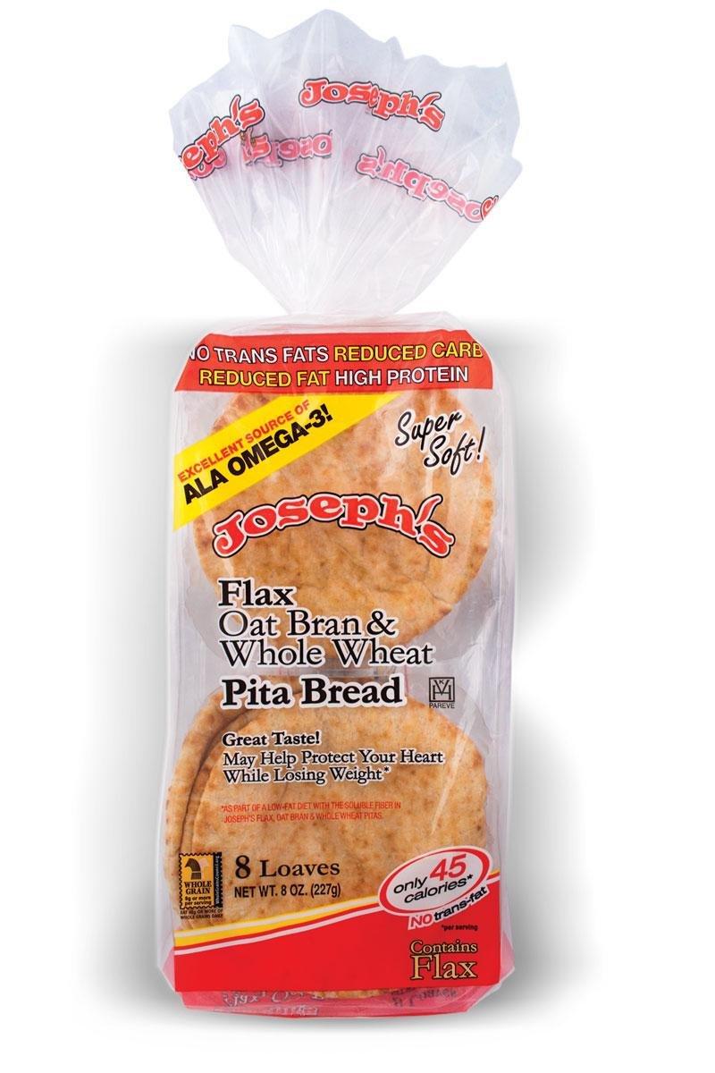 Joseph's Flax, Oat Bran and Whole Wheat Flour MINI Pita Bread 8 Loaves(8oz)