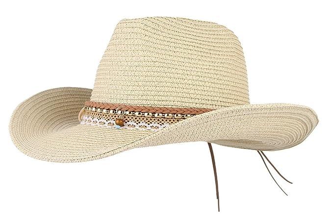 58579556de994 Gemvie Cowboy Cowgirl Floppy Sun Hat Fedora Straw Wide Brim Bucket Beach Cap  Beige 58cm