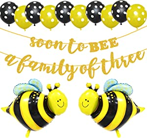 LetDec Soon To BEE A Family of Three Banner, Welcome Baby Party Banner, Bumblebee/Bumble Bee/Honey Comb Bee/Bee Beehive Theme Baby Shower Party Supplies Decoration