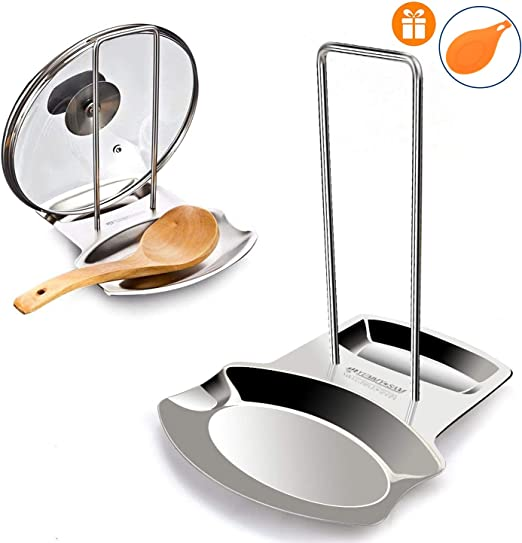 Yummy Sam Lid And Spoon Reststainless Steel Utensils Lid Holder Ladle Rest Pot Rack Multifunctional Storage Rack Silver