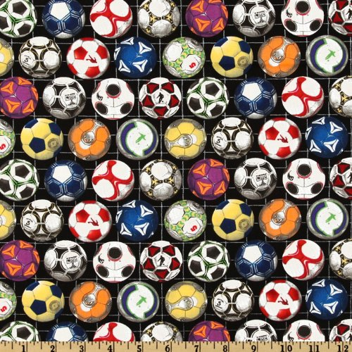 Elizabeth's Studio Sports Collection Soccer Balls Black Fabric by The Yard,]()