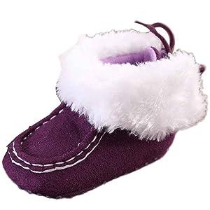 Sagton Baby Toddler Infant Snow Boots Soft Sole Crib Shoes (US:4, Purple)