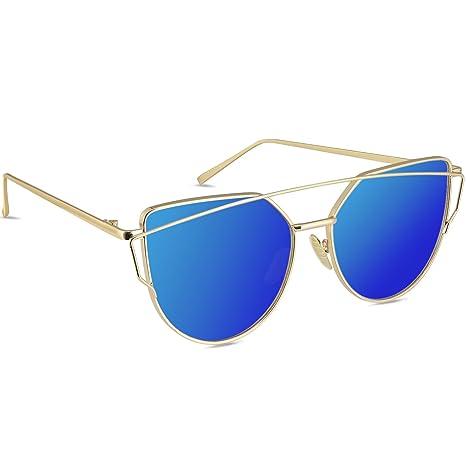 LIVHÒ Occhiali da Sole Donna a Specchio Modello Occhi di Gatto/Struttura in Metallo Protezione UV400 (Nero e Grigio) jNONHsK3