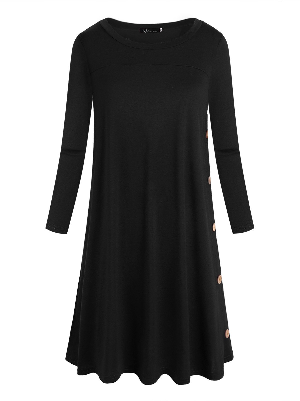 Anna Smith 3 4 Sleeve Tunic, Ladies Fashion Design Fine Knitted Round Neck T Shirt Dress Women Plain Color Flare Hem Going Out Relaxed Oversized Tops Loose Pullover Black XXL