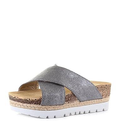 6f17bcef9463 Womens Inblu Grey Gunmetal Fashion Espadrille Flatform Sandals SIZE ...