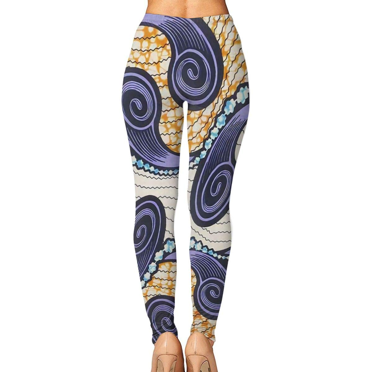Ayf-S478 African Fabric Super Wax Print Womens Yoga Pants Sports Workout Leggings Athletic Tight Pants Fitness Power Stretch Yoga Leggings Tummy Control