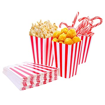 Tankerstreet Bolsas de cartón para Palomitas, Marca, 01, 24 Unidades, Rayas Rojas y Blancas, para Fiestas, niños, Regalos, cumpleaños, Cine, Teatro