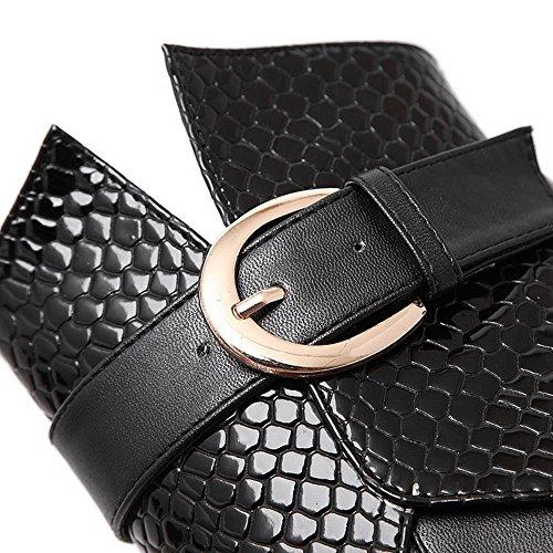 VogueZone009 Damen Schließen Zehe Blend-Materialien Niedrig-Spitze Hoher Absatz Stiefel, Schwarz, 36 EU