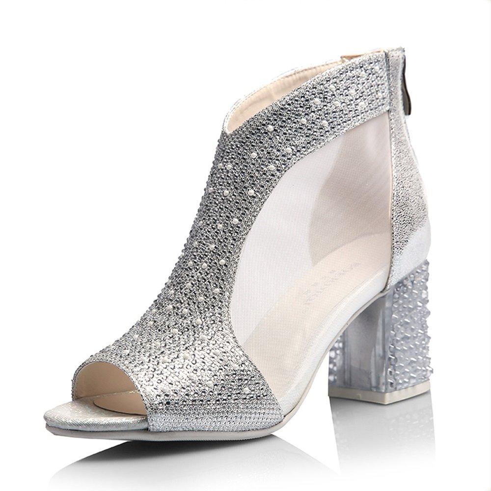 GYHDDP Zapatos para Mujer de Tacón bajo, Sandalias de Diamantes de Imitación, Sandalias Huecas de Boca de Pescado 36 EU La Plata