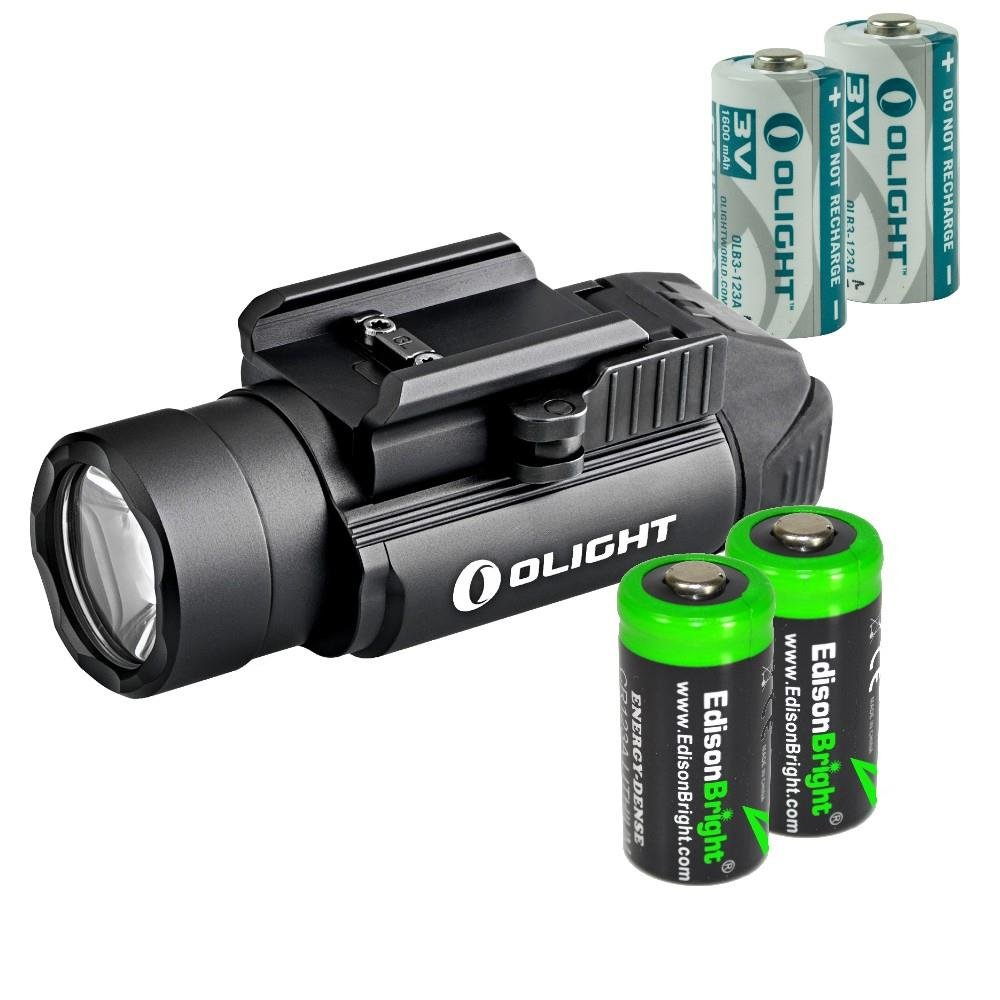 Olight PL2 (PL-2) Valkyrie 1200 lumen LED pistol light with 2 X EdisonBright CR123A lithium batteies bundle by EdisonBright