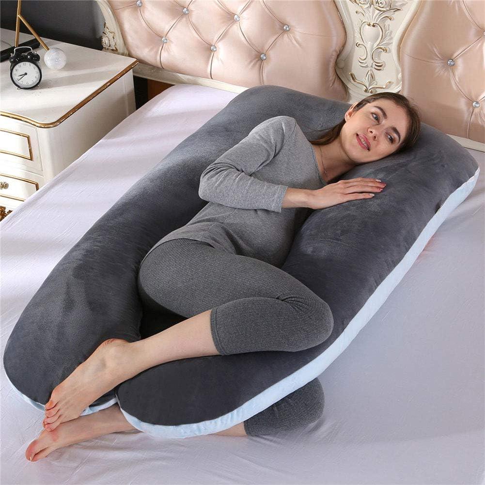 BLT25WE Multifunction U Shape Sleeping Support Pillow for Pregnant Women Body Maternity Pregnancy Side Sleeper Gray-Blue