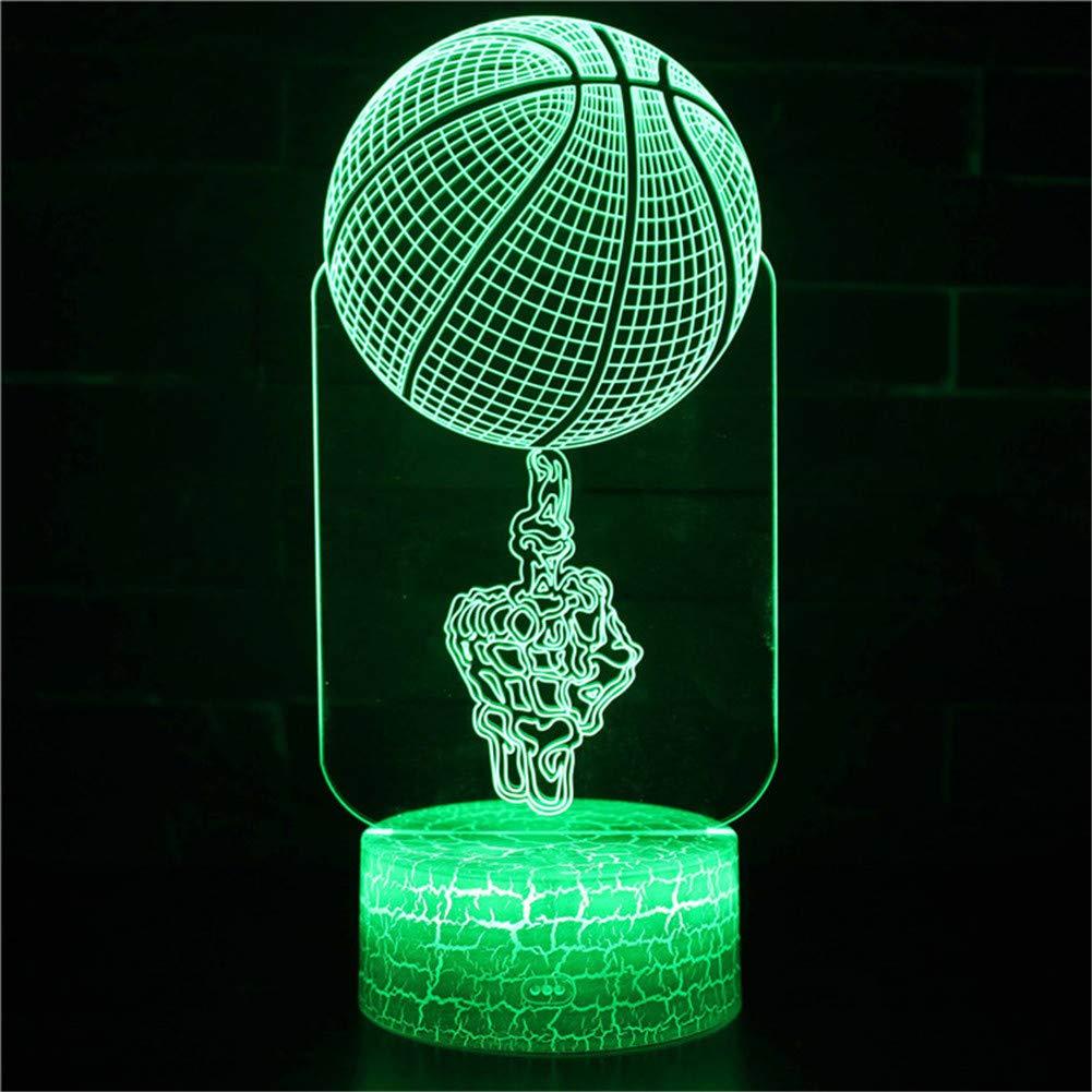 Yoppg 3D Nachtlicht Touch Switch LED7 Farbe Desktop Optische Licht USB oder Batteriebetriebene Basketball Gewöhnliche