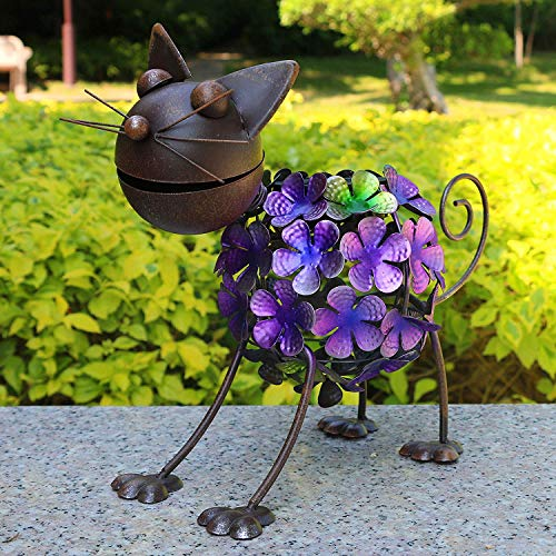 Solar Garden Lights,Metal Rusty cat,Outdoor Solar Powered LED Animal Light ,Patio, Path, Lawn, Garden, Yard Decor,RGB Multi-Colors Transformation ()