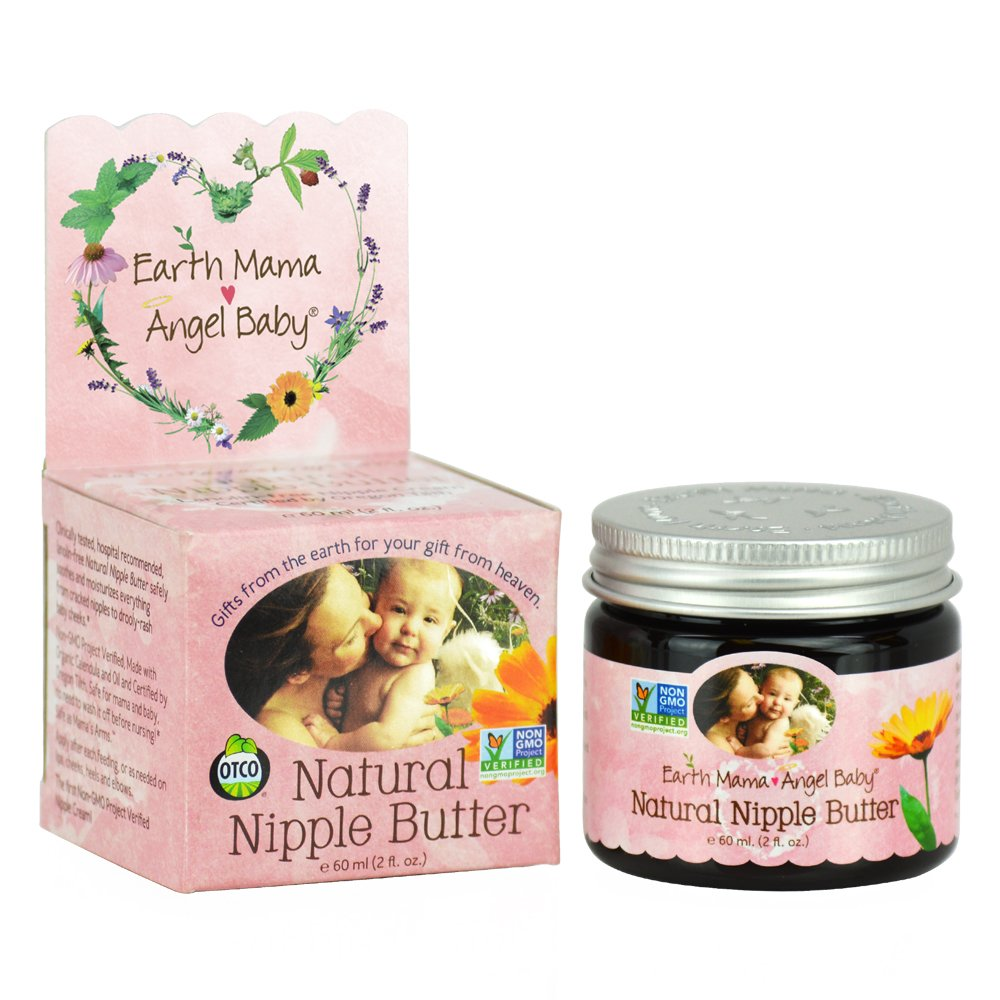 Earth Mama Angel Baby Non GMO Natural Nipple Butter Lanolin Free Nursing Cream, 2 Ounce