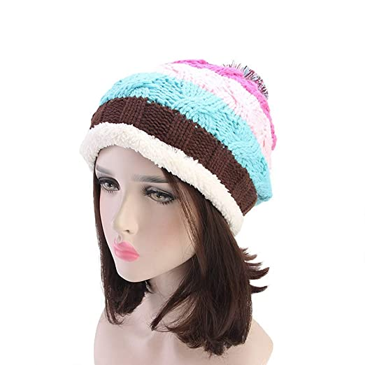 40ae0081f5e aliveGOT Women s Faux Fur Pom Pom Rainbow Stripe Fleece Lined Crochet  Knitted Slouchy Beanie Hat Cap