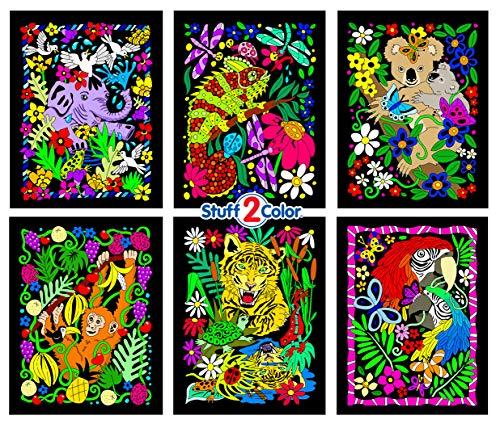 (Koala, Gecko, Elephant ,Monkey, Parrot, Tiger - 6 Fuzzy Velvet Posters To)