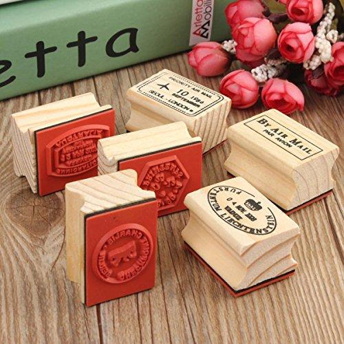 Xiaolanwelc@ 6pcs/set Excellent Modern Design Vintage travel Wooden Rubber Stamp Scrapbooking Craft Diary Postcard DIY Set Decor