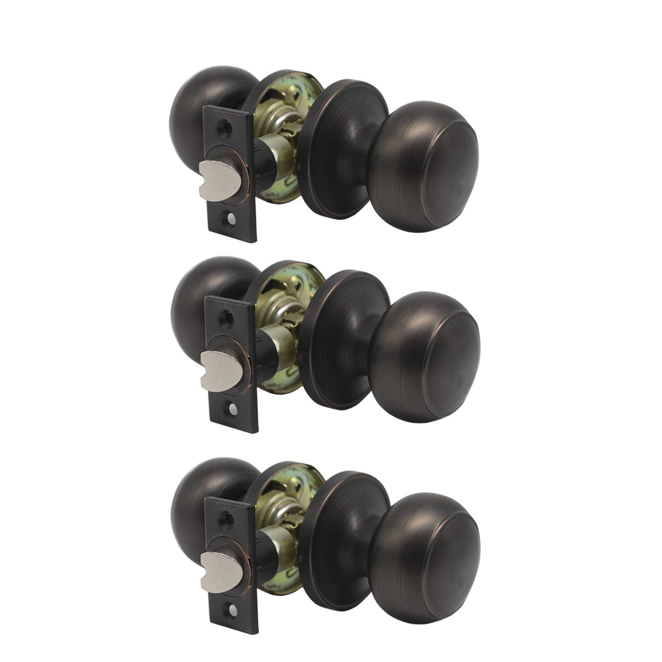 """Interior Keyless Passage Door Knobs Oil Rubbed Bronze with Adjustable Latch for 1-3/8""""to1-3/4 Thickness Doors (Package of 3)"""