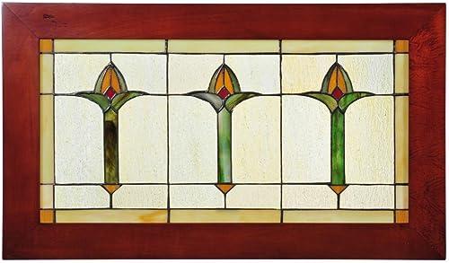 Meyda Tiffany 97961 Arts Crafts Bud Trio Wood Frame Stained Glass Window Panel, 24 Width x 14 Height