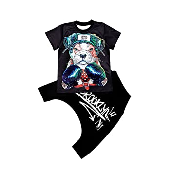 d6fc080c9 Moyuqi Boys Summer Hip Hop Street Dance Children's Dance Short-sleeved Suit  Printing Dog Jazz