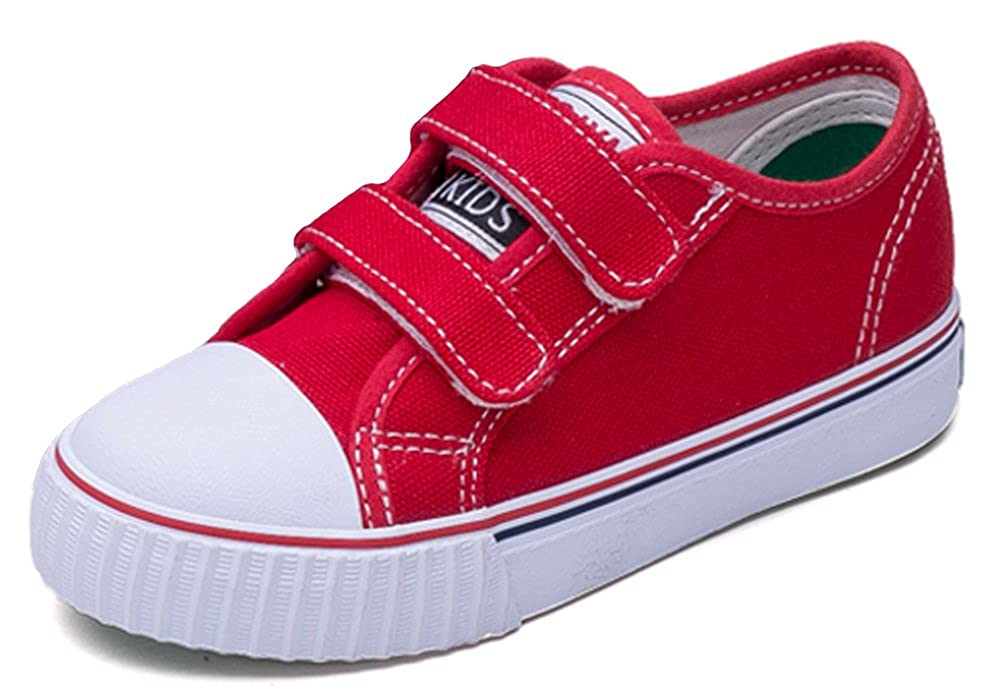 iDuoDuo Classic Kids Casual Comfort Hook-and-Loop Low Top Canvas Shoes (Toddler/Little Kid/Big Kid)