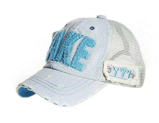36ab7ef0453042 ACVIP Kinder Casual Freizeit Hut Alphabet Muster Netz Basecap Hip Hop  Baseball cap Mütze Blau 52cm