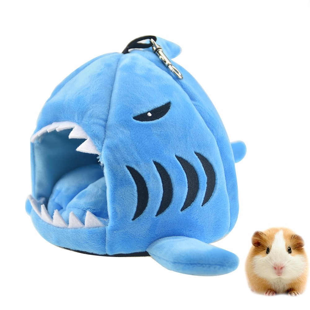 FLAdorepet Cute Shark Guinea Pig Hamster Bed House Hammock Winter Warm Squirrel Hedgehog Chinchilla House Cage Nest Bed Hamster Accessories (S, Blue)
