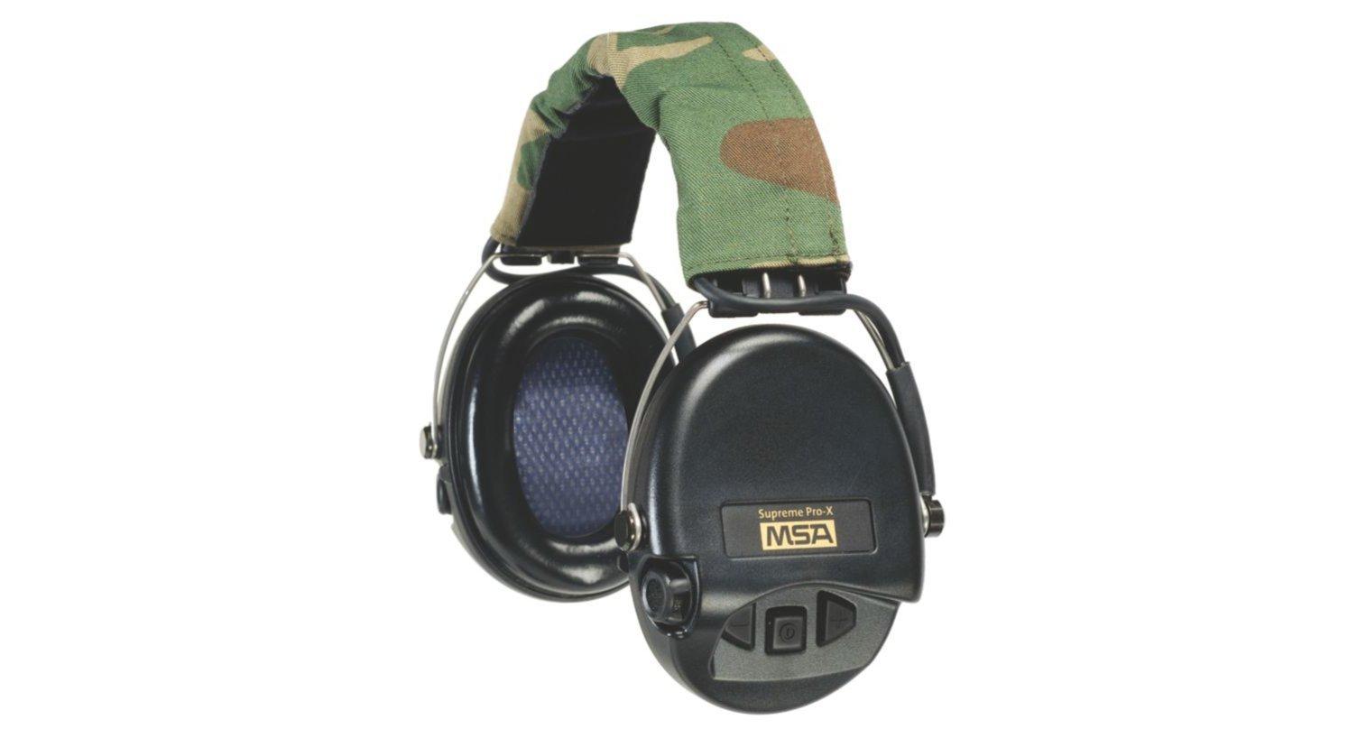 MSA 10082167最高級Pro-Xイヤーマフ、カモヘッドバンド、ブラックカップ付き B00QXUEELM